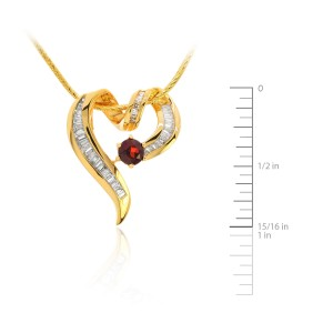 14K Yellow Gold Diamond Heart Pendant with Garnet Necklace