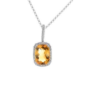 14K White Gold Citrine & Diamond Pendant Necklace