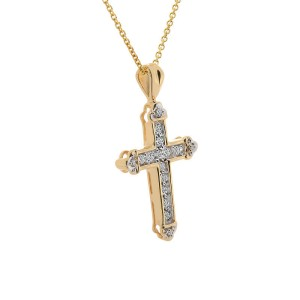 14K Yellow Gold Diamond Cross Pendant Necklace