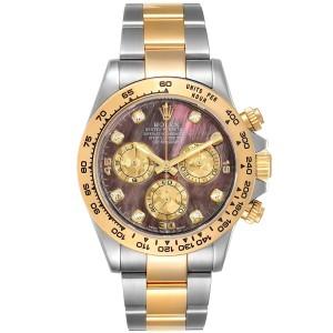 Rolex Daytona Steel Yellow Gold MOP Gold Crystals Diamond Watch