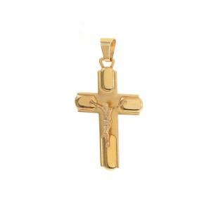 14K Yellow Gold Jesus Crucifix Cross Pendant