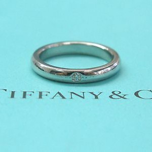 Tiffany & Co. PT950 Platinum with 0.02ct Diamond Elsa Peretti Band Ring Size 4