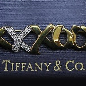 Tiffany & Co. Paloma Picasso 18K Yellow Gold and PT950 Platinum with Diamond Brooch