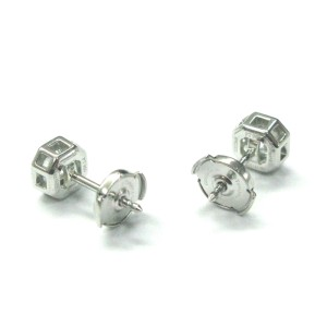 Tiffany & Co. 950 Platinum & 1.24ct Diamond Lucida Stud Earrings