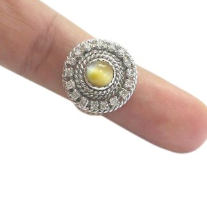 Cat's Eye Diamond 14K Yellow Gold Ring