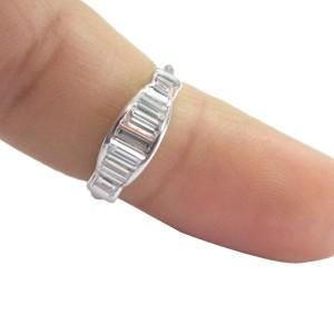 Platinum Baguette Semi Circle Dome Ring
