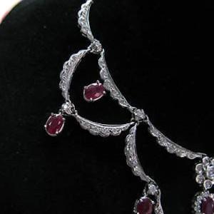 14K White Gold Ruby & Diamond Necklace
