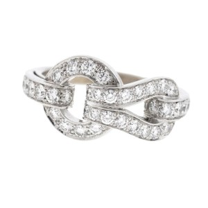 Cartier 18K White Gold Agrafe Diamond Buckle Ring