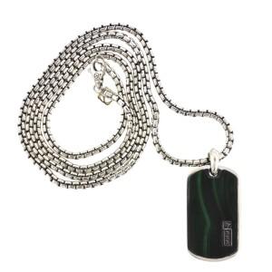David Yurman Stainless Steel Green Malachite Dog Tag Pendant Necklace