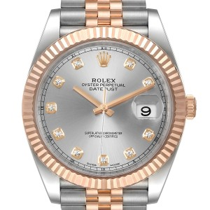 Rolex Datejust 41 Steel Everose Gold Diamond Dial Mens Watch
