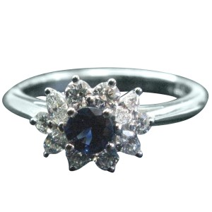Tiffany & Co. PT950 Platinum with 0.45ct Blue Sapphire and 0.51ct Diamond Ring Size 4