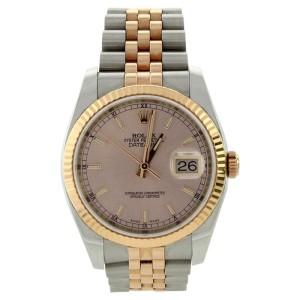 Rolex Datejust 116231 Jubilee Stainless Steel & 18K Rose Gold Pink Stick Gold Bezel Watch