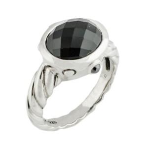 David Yurman Sterling Silver Onyx Ring 7.2 Grams Ring Size 8