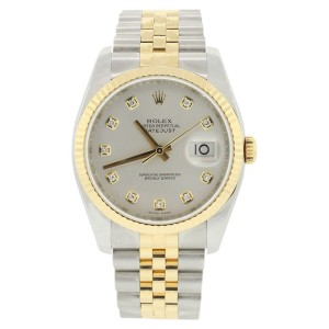 Rolex Datejust 116233 Stainless Steel & 18K Gold Silver Diamond Mens Watch