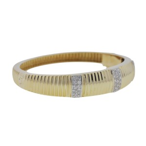 14K Yellow Gold & Diamond Bangle Bracelet