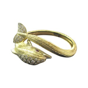 18K Yellow Gold Mapamenos Natepas Gem Ruby Diamond Dolphin Bangle