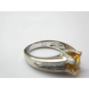 18K White Gold Yellow Sapphire Diamond Ring