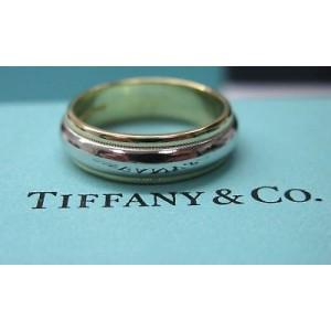Tiffany & Co Plat & 18Kt Milgrain Wedding Band