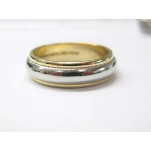 Tiffany & Co Plat & 18Kt Milgrain Wedding Band