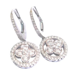 Louis Vuitton 18K White Gold Monogram Forever Sleepers Diamond Earrings