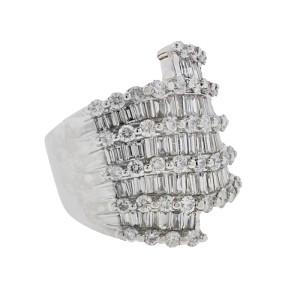 14K White Gold & Diamond Wide Ladies Ring