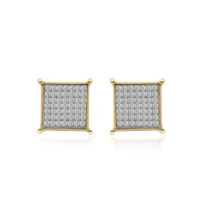 14K Yellow Gold Diamond Accent Micro Pavé Square Stud Earrings