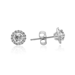 18K White Gold 0.66 ct. Round Brilliant Cut Halo Diamond Stud Earrings