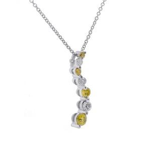 14K White Gold Fancy Yellow 0.35 ct. Diamond Pendant Necklace