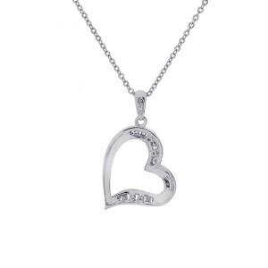 10K White Gold Round Brilliant 0.15 ct. Diamond Heart Pendant Necklace