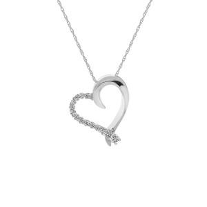 10K White Gold 0.25 ct. Brilliant Diamond Heart Pendant Necklace