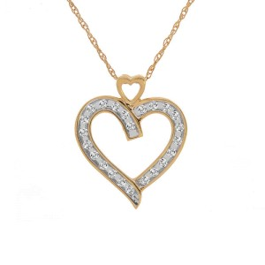 14K Yellow Gold 0.25 ct. Brilliant Diamond Heart Pendant Necklace