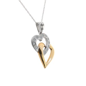 10K Two Tone Yellow & White Gold 0.25 ct. Diamond Hearts Pendant Necklace