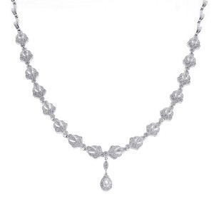 14K White Gold 2.75 ct. Diamond Drop Necklace