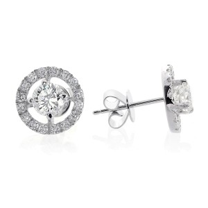 18K White Gold 1.80 ct. Halo Pave Four Prong Diamond Earrings