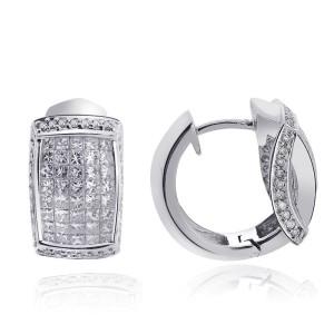 14K White Gold Princess and Round Brilliant Diamond Earrings