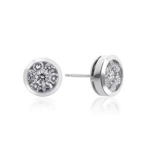 14K White Gold Round Cut Diamond Halo Earrings