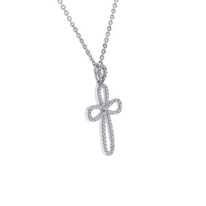 14K & 10K White Gold Looped Cross Pendant