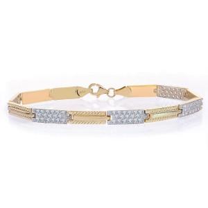 14K Yellow Gold Rectangle Link Chain Diamond Cut Stones