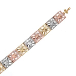 14K Three Tone Gold Finesque Bracelet