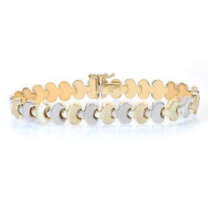 14K Two Tone Gold Fancy Link Bracelet