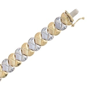 14K Two Tone Gold Fancy Link Diamond Cut Bracelet