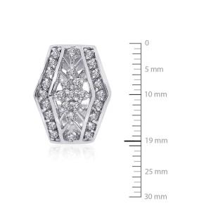 14K White Gold Diamond Cluster J-Hoop Earrings