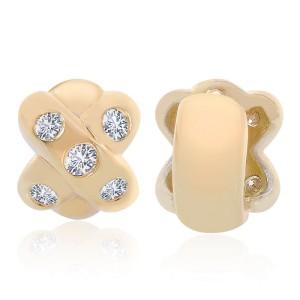 14K Yellow Gold Diamonds X J-Hoop Earrings