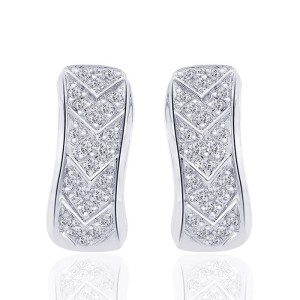 14K White Gold Diamond J-Hoop Earrings