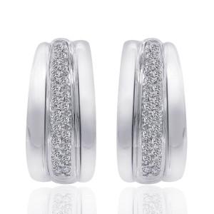 14K White Gold Round Cut Diamond J-Hoop Earrings
