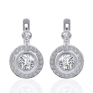 14K White Gold Diamond Hoop Circle Drop Earrings