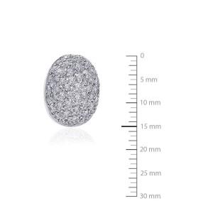18K White Gold Diamond Cluster Button Earring