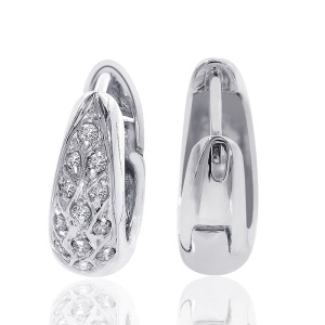 14K White Gold  Round Cut Diamond Hoop Earrings