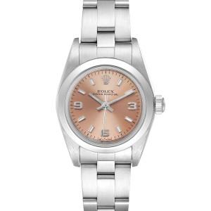 Rolex Oyster Perpetual Salmon Dial Steel Ladies Watch 76080