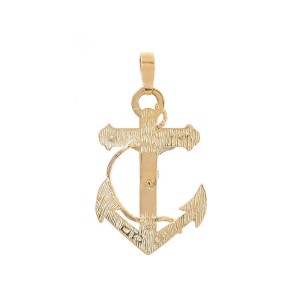 14K Yellow Gold Anchor Jesus Crucifix Cross Pendant